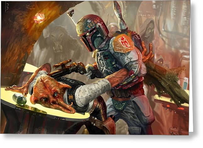 Star Greeting Cards - Boba Fett - Star Wars the Card Game Greeting Card by Ryan Barger