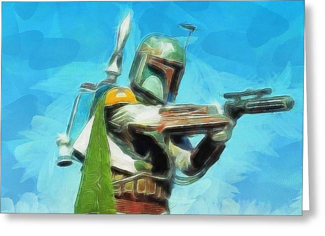 Bounty Hunter Greeting Cards - Boba Fett Painting Greeting Card by Dan Sproul