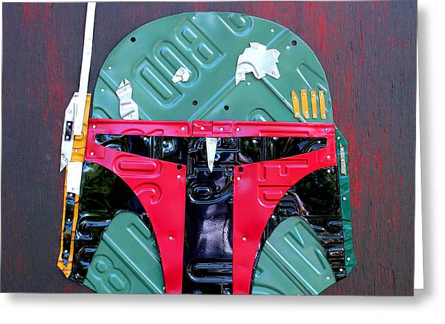 Boba Greeting Cards - Boba Fett Star Wars Bounty Hunter Helmet Recycled License Plate Art Greeting Card by Design Turnpike