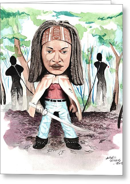 Andrew Michael Greeting Cards - Bobble-Head Michonne Greeting Card by Kyle Willis