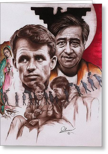 Cesar Chavez Greeting Cards - Bobby and Cesar Greeting Card by Bill Olivas