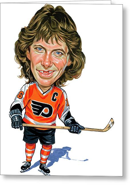Caricatures Greeting Cards - Bobby Clarke Greeting Card by Art