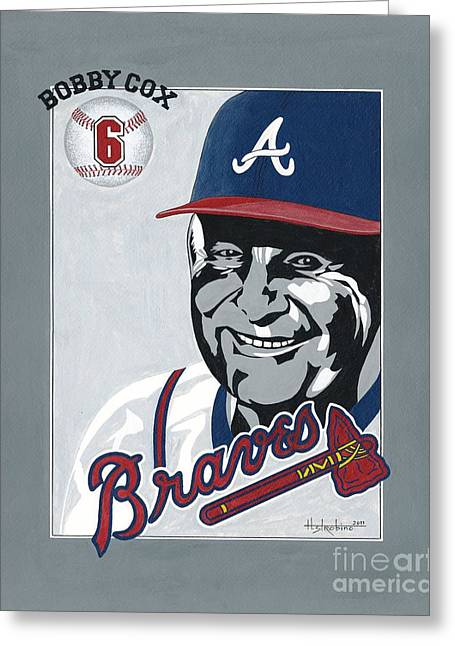 Baseball Paintings Greeting Cards - Bobby Cox Portrait Greeting Card by Herb Strobino