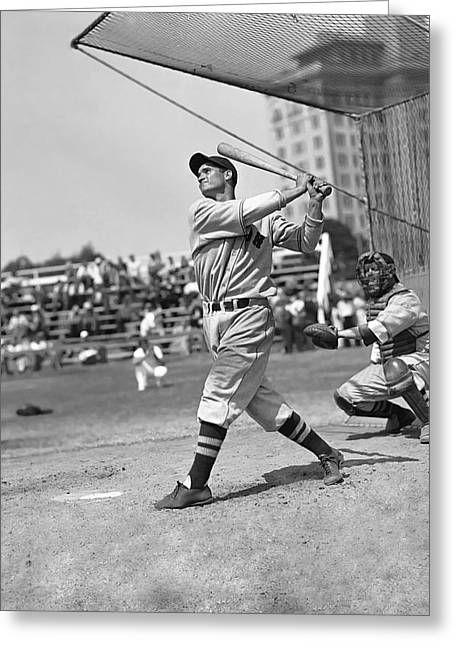Boston Red Sox Greeting Cards - Bobby Doerr Hitting Greeting Card by Retro Images Archive