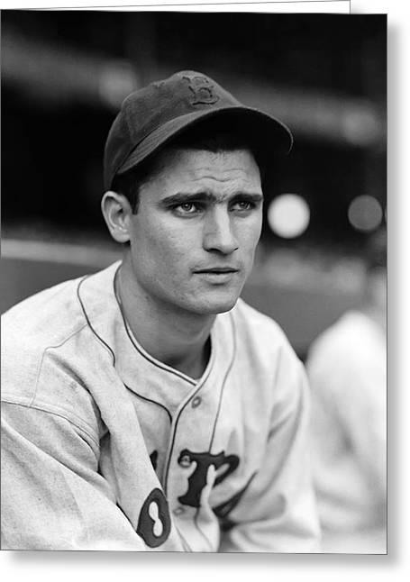 Boston Red Sox Greeting Cards - Bobby Doerr Looking Into Distance Greeting Card by Retro Images Archive