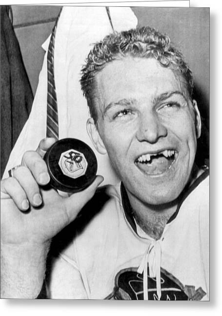 Missing Teeth Greeting Cards - Bobby Hull Scores 50th Goal Greeting Card by Underwood Archives