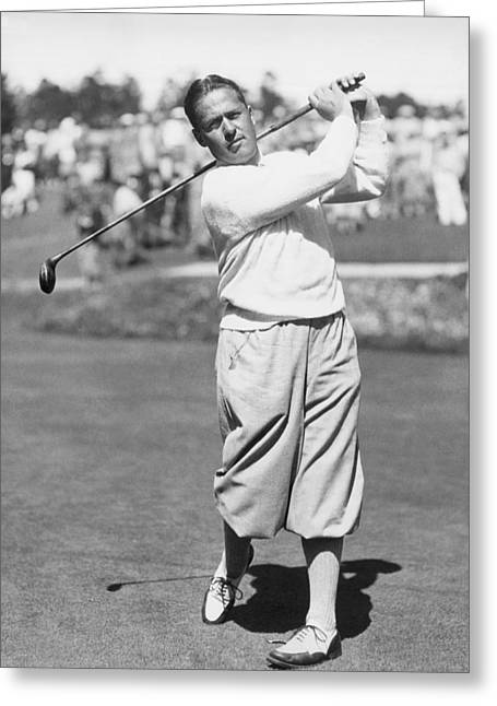 Bobby Jones At Pebble Beach Greeting Card by Underwood Archives