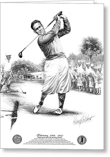 Us Open Golf Greeting Cards - Bobby Jones at Sarasota - black on white Greeting Card by Harry West