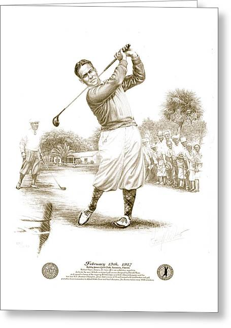 Bobby Jones At Sarasota - Sepia Greeting Card by Harry West