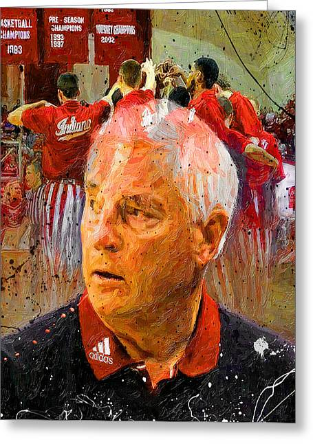 Basketballs Greeting Cards - Bobby Knight Indiana Legend Greeting Card by John Farr