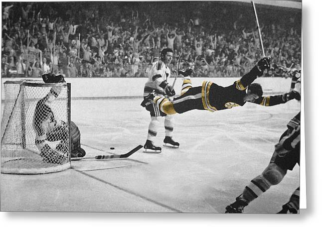 Playoff Greeting Cards - Bobby Orr 2 Greeting Card by Andrew Fare