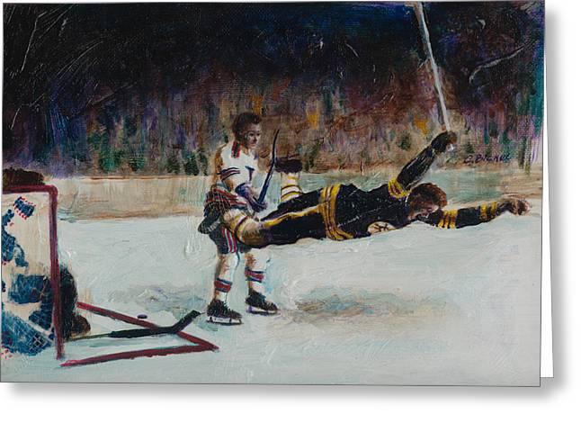 Hockey Paintings Greeting Cards - Bobby Orr Greeting Card by Charles  Bickel