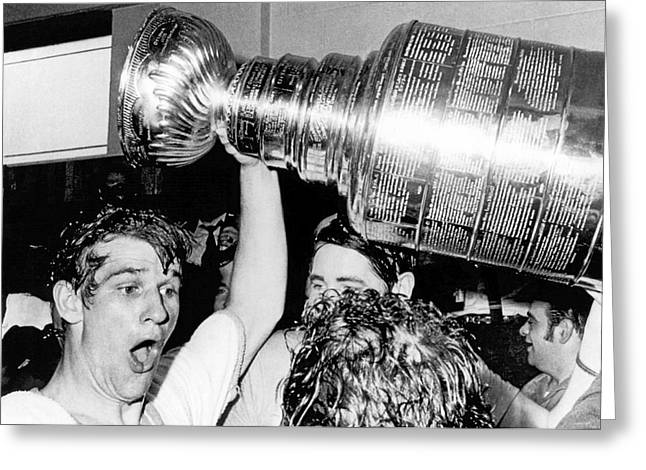 Bobby Orr With Stanley Cup Greeting Card by Underwood Archives