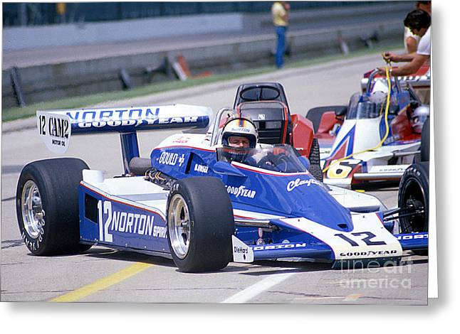 Racecar Number Greeting Cards - Bobby Unser in The Norton Race Car Greeting Card by Martin Sullivan