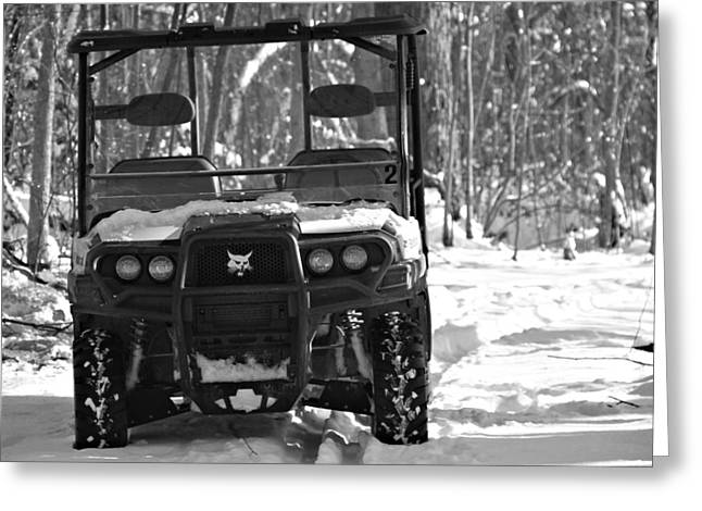 Bobcats Greeting Cards - Bobcat ATV In Winter Greeting Card by Dan Sproul