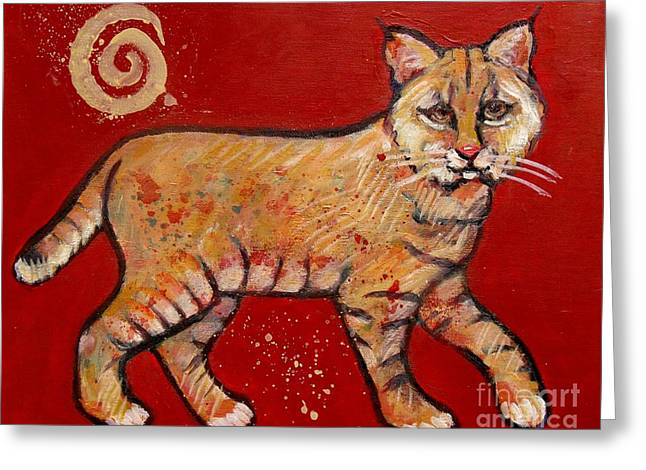 Recently Sold -  - Bobcats Greeting Cards - Bobcat Greeting Card by Carol Suzanne Niebuhr