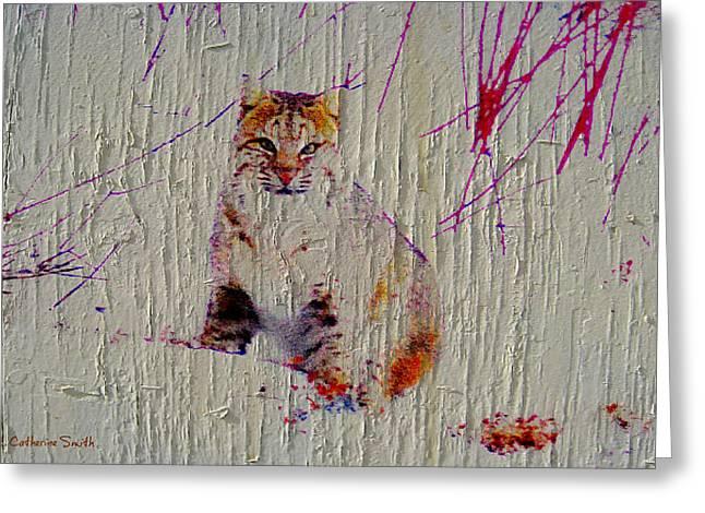 Bobcat Art Greeting Cards - Bobcat Greeting Card by Catherine Ravensong