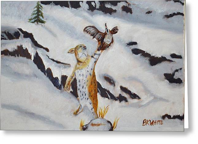 Bobcats Greeting Cards - Bobcat On The Hunt Greeting Card by Brian White