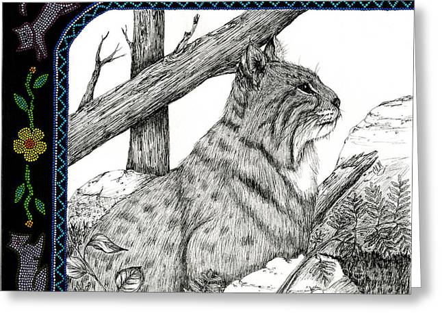 Bobcat Drawings Drawings Greeting Cards - Bobcats Lost Tail Greeting Card by Christine Matha