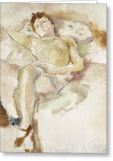 Mid-adult Greeting Cards - Bobette Lying Down Bobette Allongee Greeting Card by Jules Pascin