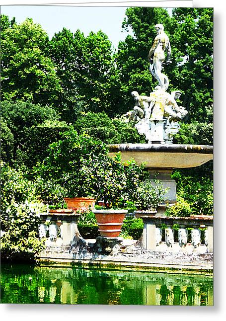 Lemon Art Greeting Cards - Boboli Gardens Fountain Florence Italy Greeting Card by Irina Sztukowski