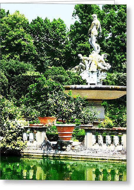 Boboli Gardens Fountain Florence Italy Greeting Card by Irina Sztukowski