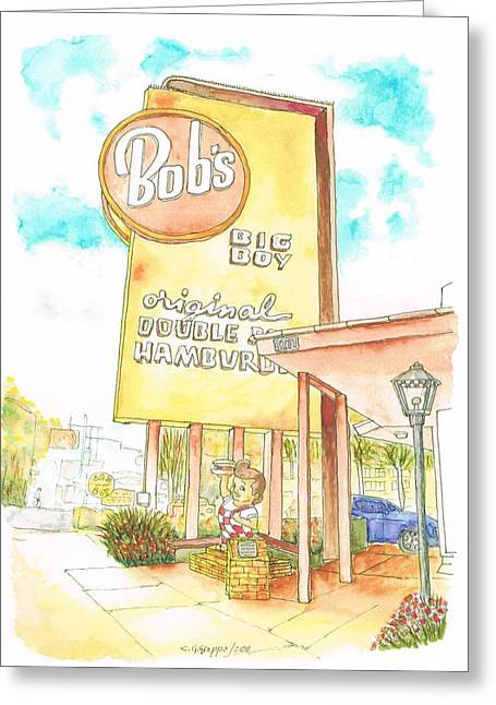 Acuarelas Greeting Cards - Bobs Big Boy in Burbank - California Greeting Card by Carlos G Groppa