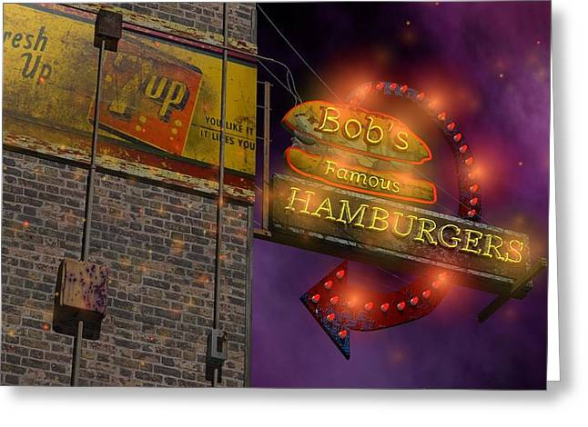 Circus Graphics Greeting Cards - Bobs Famous Burgers Greeting Card by Larry  Page
