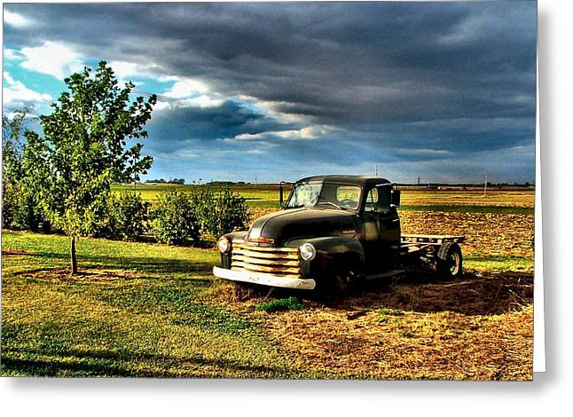 Bob's Old Chevy Truck In The Spring Greeting Card by Julie Dant
