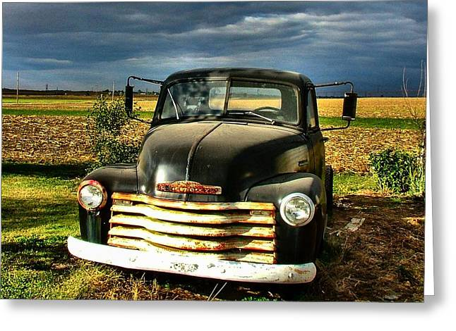 Julie Dant Greeting Cards - Bobs Old Chevy Truck Greeting Card by Julie Dant