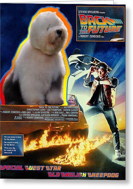Bobtail - Old English Sheepdog Art Canvas Print - Back To The Future Movie Poster Greeting Card by Sandra Sij