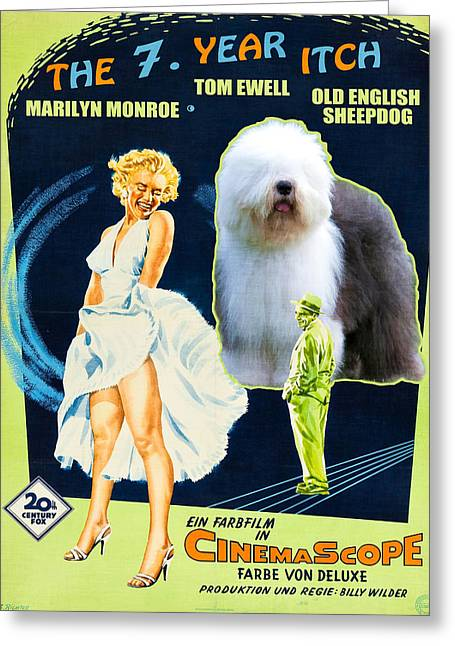 Bobtails Greeting Cards - Bobtail -  Old English Sheepdog Art Canvas Print - The Seven Year Itch Movie Poster Greeting Card by Sandra Sij