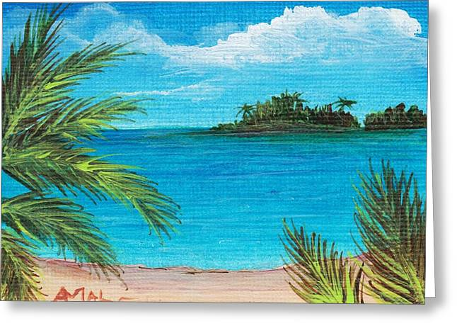 Ocean Landscape Drawings Greeting Cards - Boca Chica Beach Greeting Card by Anastasiya Malakhova