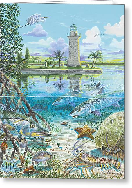 Biscayne Bay Greeting Cards - Boca Chita In0026 Greeting Card by Carey Chen
