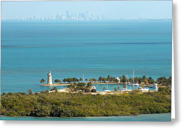 Biscayne Bay Greeting Cards - Boca Chita Lighthouse and Miami Skyline Greeting Card by Nomad Art And  Design