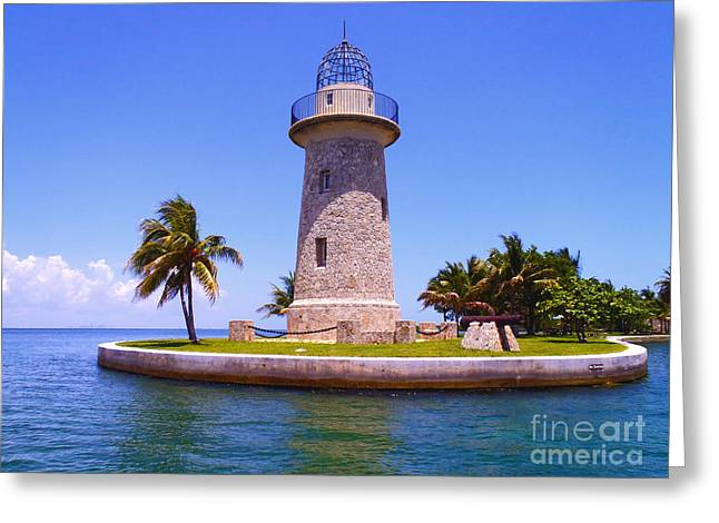 Gables Greeting Cards - Boca Chita lighthouse Greeting Card by Carey Chen