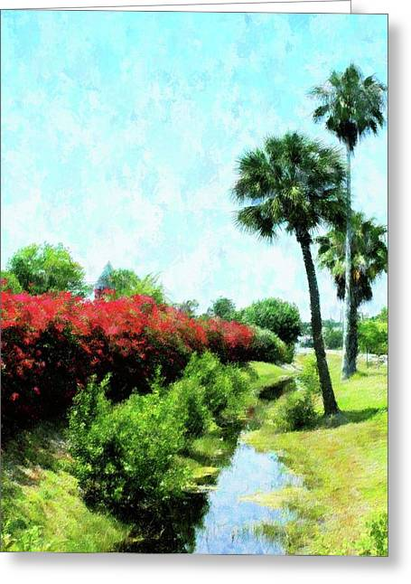 Florida Flowers Mixed Media Greeting Cards - Boca Grande Floral Greeting Card by Florene Welebny