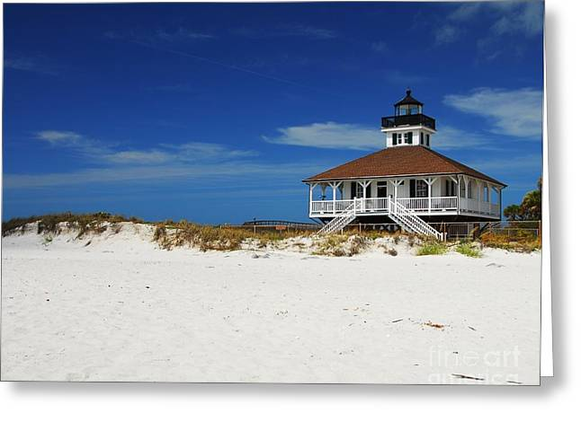 Blue Sky And Sand Greeting Cards - Boca Grande Lighthouse Greeting Card by Mel Steinhauer