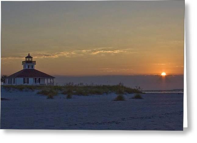 Boca Grande Greeting Cards - Boca Grande Lighthouse Sunrise Greeting Card by Regina  Williams