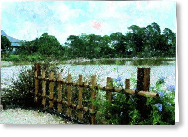Bamboo Fence Greeting Cards - Boca Morikami Gardens Greeting Card by Florene Welebny