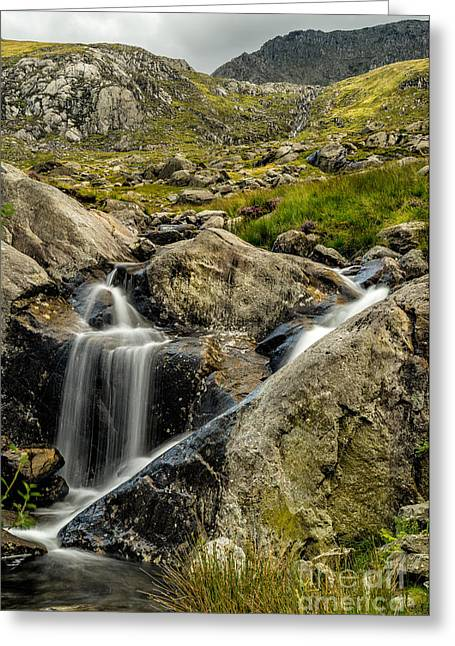 Rapids Greeting Cards - Bochlwyd Waterfall Greeting Card by Adrian Evans