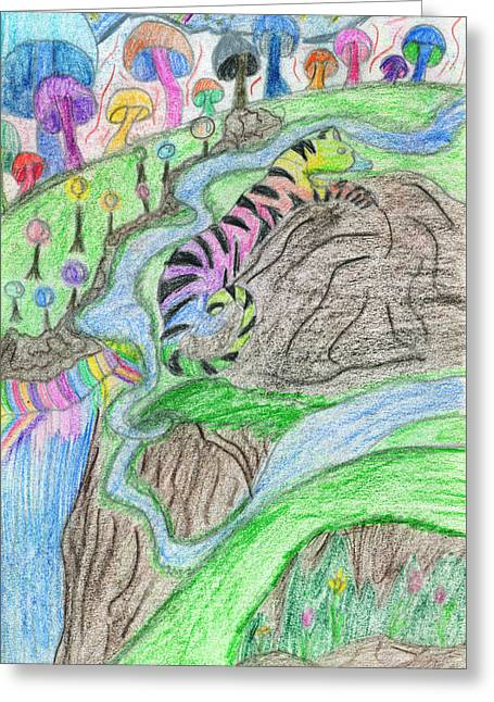Fantasy World Drawings Greeting Cards - Bodacious Land Greeting Card by Kd Neeley