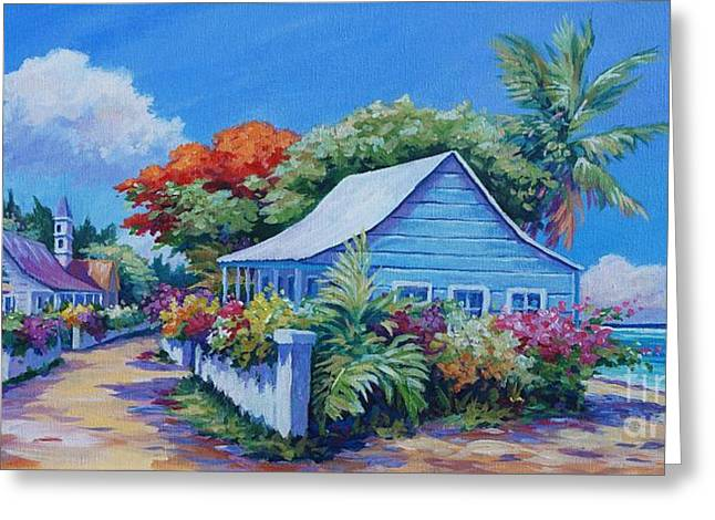 Panoramic Ocean Paintings Greeting Cards - Bodden Town Panorama Greeting Card by John Clark