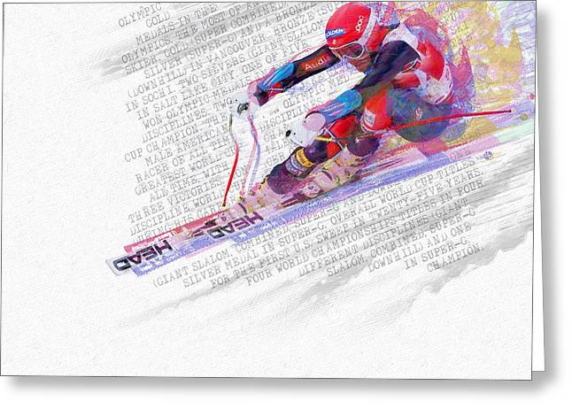 Super-g Skiing Greeting Cards - Bode Miller And Statistics Greeting Card by Tony Rubino
