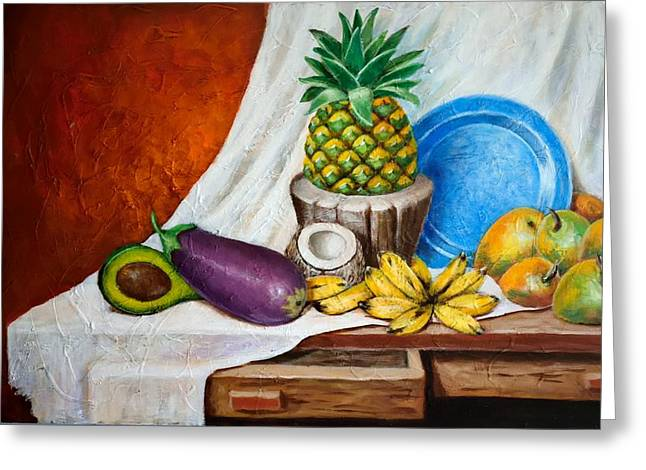 Mango Paintings Greeting Cards - Bodegon Criollo Greeting Card by Edgar Torres