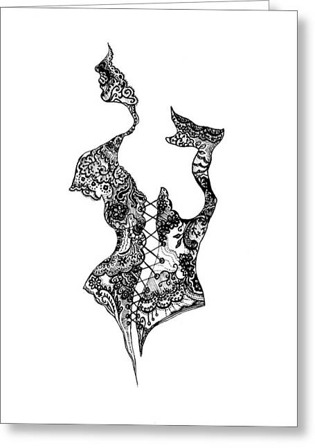 Corset Drawings Greeting Cards - Bodice Greeting Card by Iris Moore