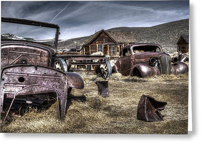 Rusted Cars Digital Greeting Cards - Bodie CA Greeting Card by Eduard Moldoveanu