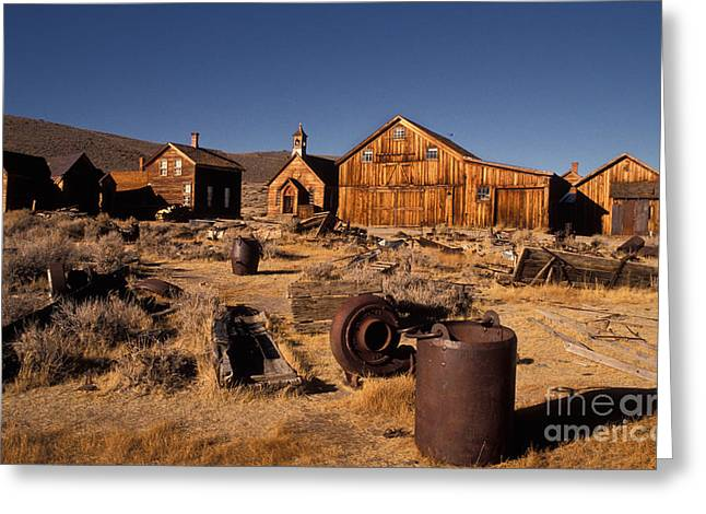 Rusted Cars Greeting Cards - Bodie, California, A Ghost Town Greeting Card by Ron Sanford