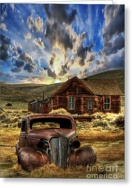 Rusted Cars Greeting Cards - Bodie Ghost Town Greeting Card by Benanne Stiens