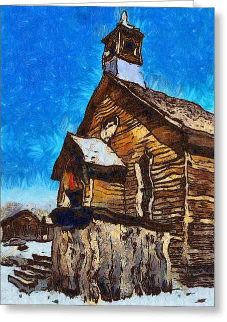Old Town Digital Art Greeting Cards - Bodie Ghost Town Methodist Church Greeting Card by Barbara Snyder